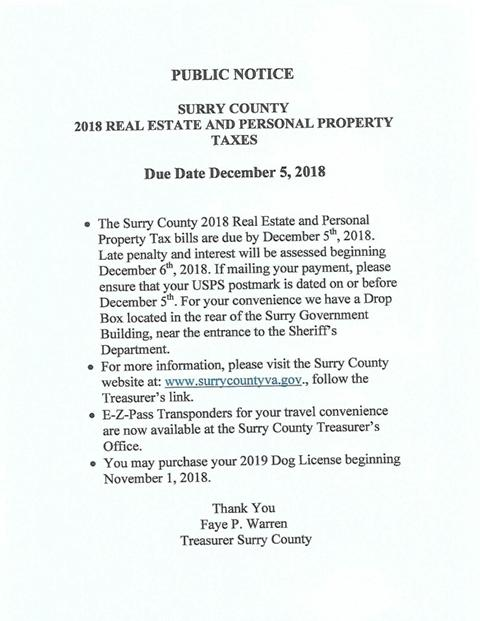 Public Notice 2018 Real Estate and Personal Property Tax